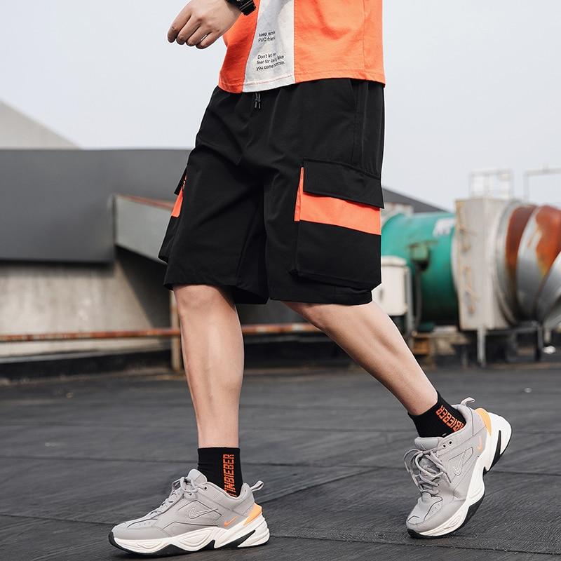 2020 Streetwear Summer Casual Shorts Men Fashion Ribbons Pockets Cargo Shorts BermudaPatchwork Men's Shorts YJJ35