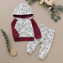 Cotton Baby Fall Clothing Cartoon Print Set For Boy Girl 2Pcs Keep Warm Hoodies Tops+Soft Pant Kids Clothes Long Sleeve D35