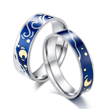 Van Gogh's Enamel couple rings Stainless steel Sky Star moon s925 silver Glitter Rings Engagement Ring Wedding Jewelry For Women(China)
