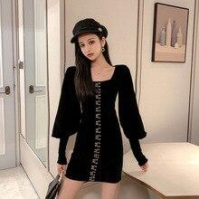 2019 Winter Autumn Black Vintage Dress Women Basic Wear Fall Clothes Velvet Dresses Ladies Puff Sleeve Sheath Package Hip Dress velvet tie back cap sleeve sheath dress