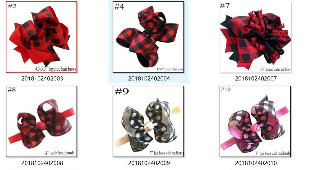 free shipping 10pcs Buffalo Plaid bows christmas Hair Bows With Clips plaid Kids Girls Princess Handmade Boutique bows - Цвет: mix color min is 5pc