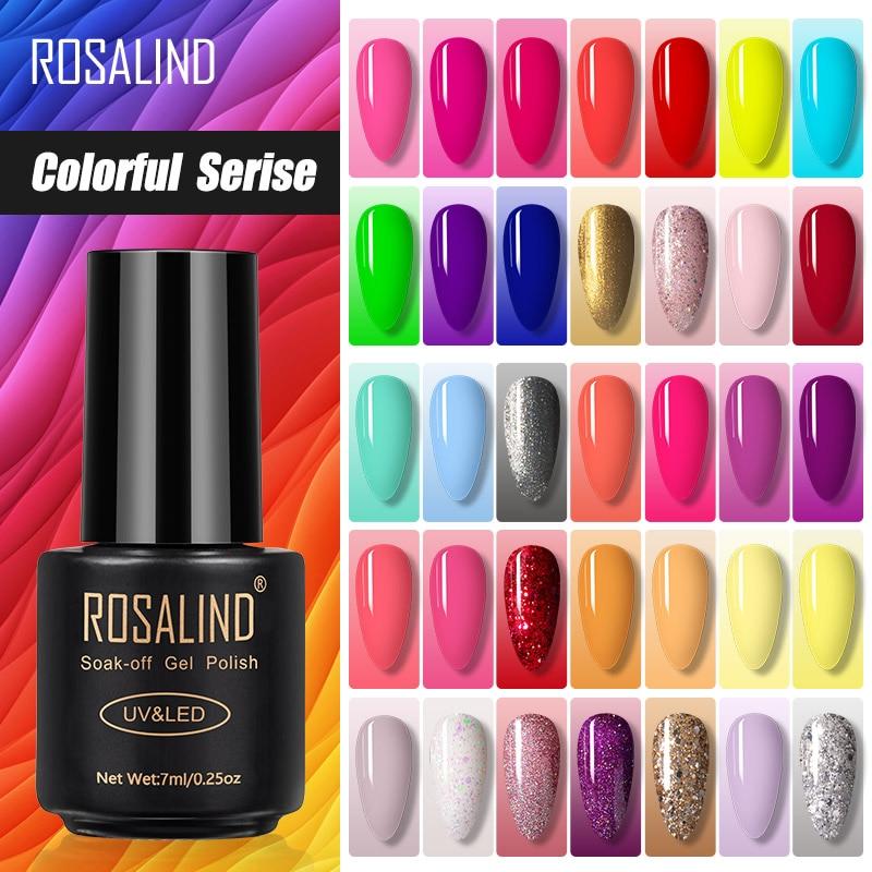 Розалинд 7 мл гель лак для ногтей красочные Serise Гибридный покрытые лаком ногти искусство все для Маникюр УФ-светодиодный основа верхнее пал...