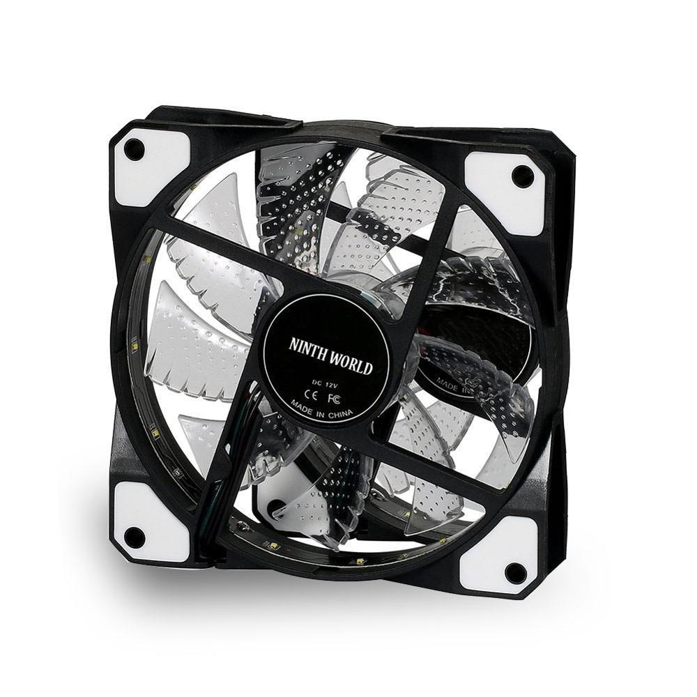 120 мм ПК компьютер 16 дБ Ультра тихий 15 светодиодов чехол вентилятор Радиатор охлаждения ж/Антивибрационная резина, 12 см вентилятор, 12В DC 3P IDE 4pin - Цвет лезвия: 1 pcs white fan