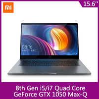 Xiaomi-ordenador portátil Mi Notebook Pro de 15,6 pulgadas GTX 1050 max-q Intel Core i7 16G/i5 8G CPU NVIDIA 4GB GDDR5 Laptop huella dactilar para Windows 10