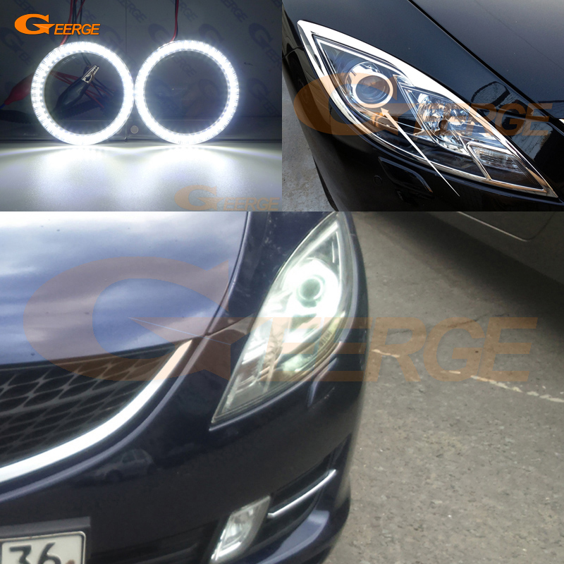 For <font><b>mazda</b></font> <font><b>6</b></font> Mazda6 MK2 2008 2009 2010 2011 2012 Europe version Excellent smd <font><b>led</b></font> Angel Eyes kit halo rings Ultra bright DRL image