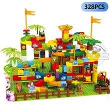 Blocos de corrida de mármore blocos de construção funil slide blocos diy tijolos brinquedo brinquedos educativos para crianças blocos