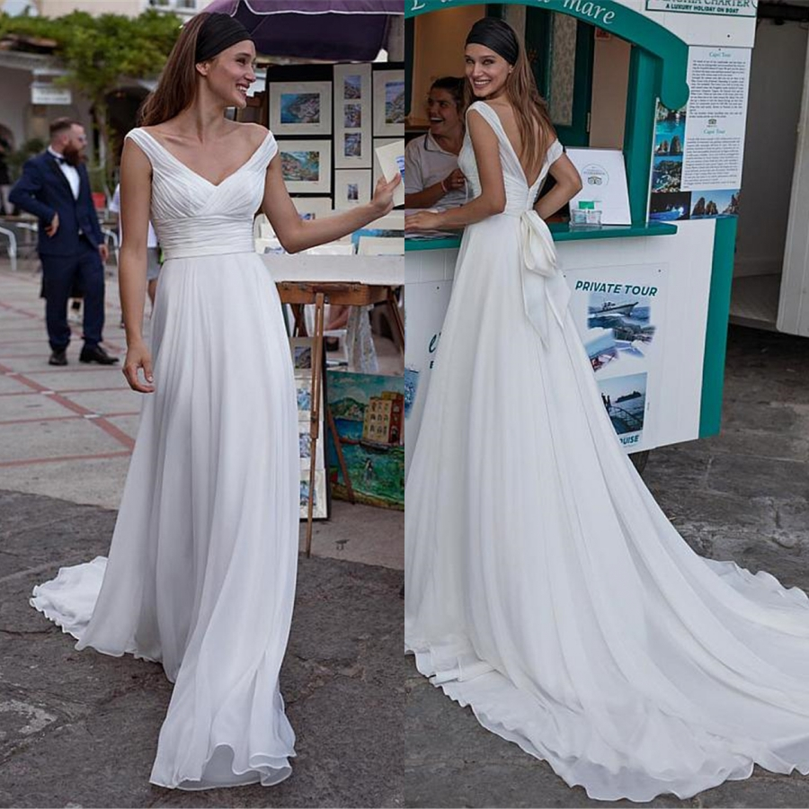 Fast Delivery V-neck White Simple Beach Wedding Dresses For Women Chiffon Skirt Pleats Sexy Backless Wedding Gowns Vestido