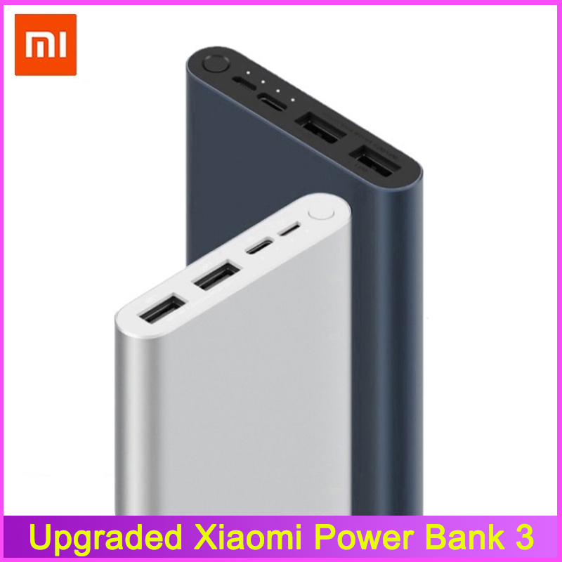 Оригинальный внешний аккумулятор Xiaomi Mi Power Bank 3, 10000 мАч, с 3 USB-выходами, Поддержка двусторонней быстрой зарядки, 18 Вт, внешний аккумулятор для Smart