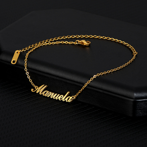 Custom Name Anklet Foot Gold Chain Stainless Steel Personalize Anklets for Women Bohemian Beach Jewelry Fashion Bridesmaid Gift