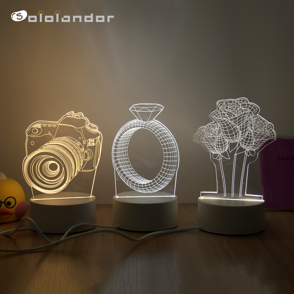 Novelty 3D Lamp Camera Illusion LED USB Lamp Switch RGB 3 Color Changing Table Night Light Bedside Decoration LED Lamp Dropship