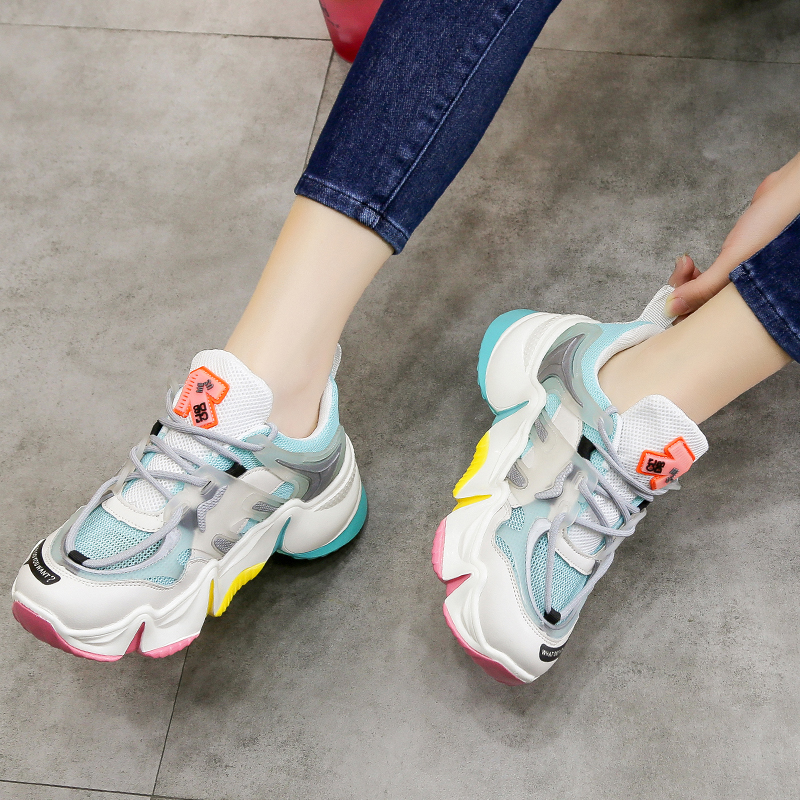 2020 Hot Summer Women Sneakers Vulcanize Breathable Rainbow Color Fashion Casuals Height Increasing Female Chunky Ladies Shoe 2