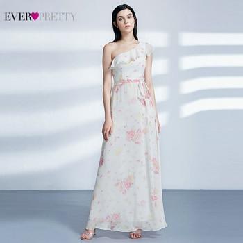 Ever Pretty Elegant Evening Dresses Long A-Line Off Shoulder Floral Print Chiffon Formal Party Gowns Women Robe De Soiree 2020