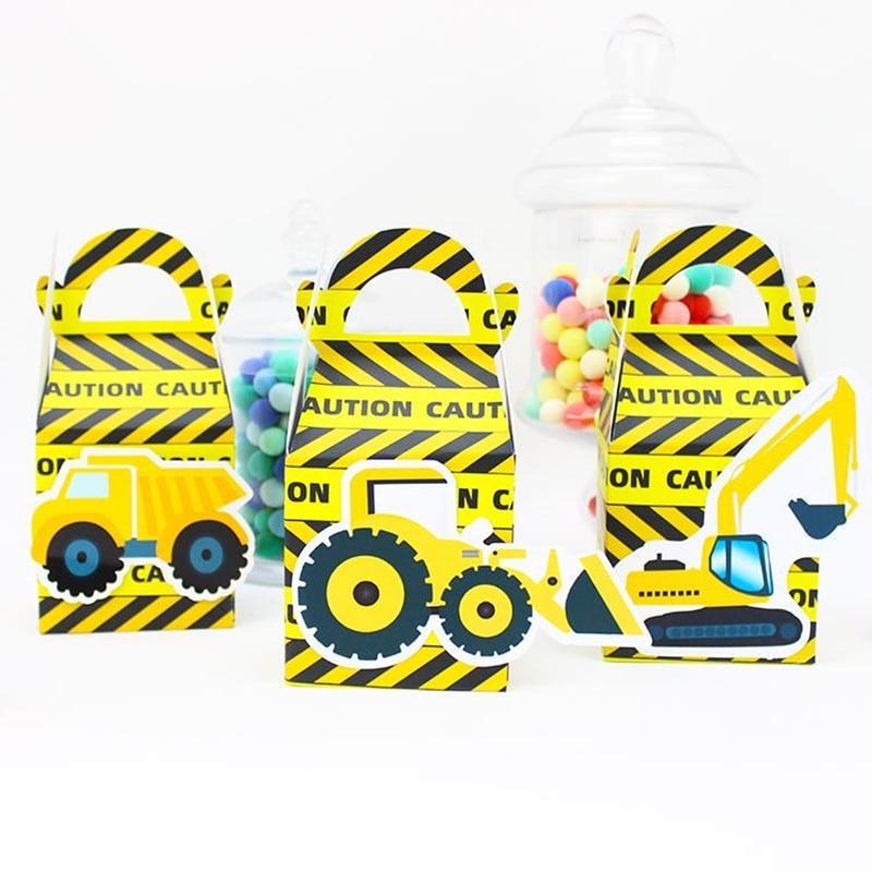 Строительные грузовики вечерние тема Подарочная коробка мини-экскаватор конфетная подарочная коробка для кексов день рождения, мероприят...