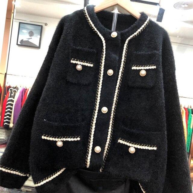 Office Lady Mink Fleece Pearl Buttons Short Coat Women Elegant Embroidery Soft Fabric Streetwear Jacket Fashion Warm Loose Coat