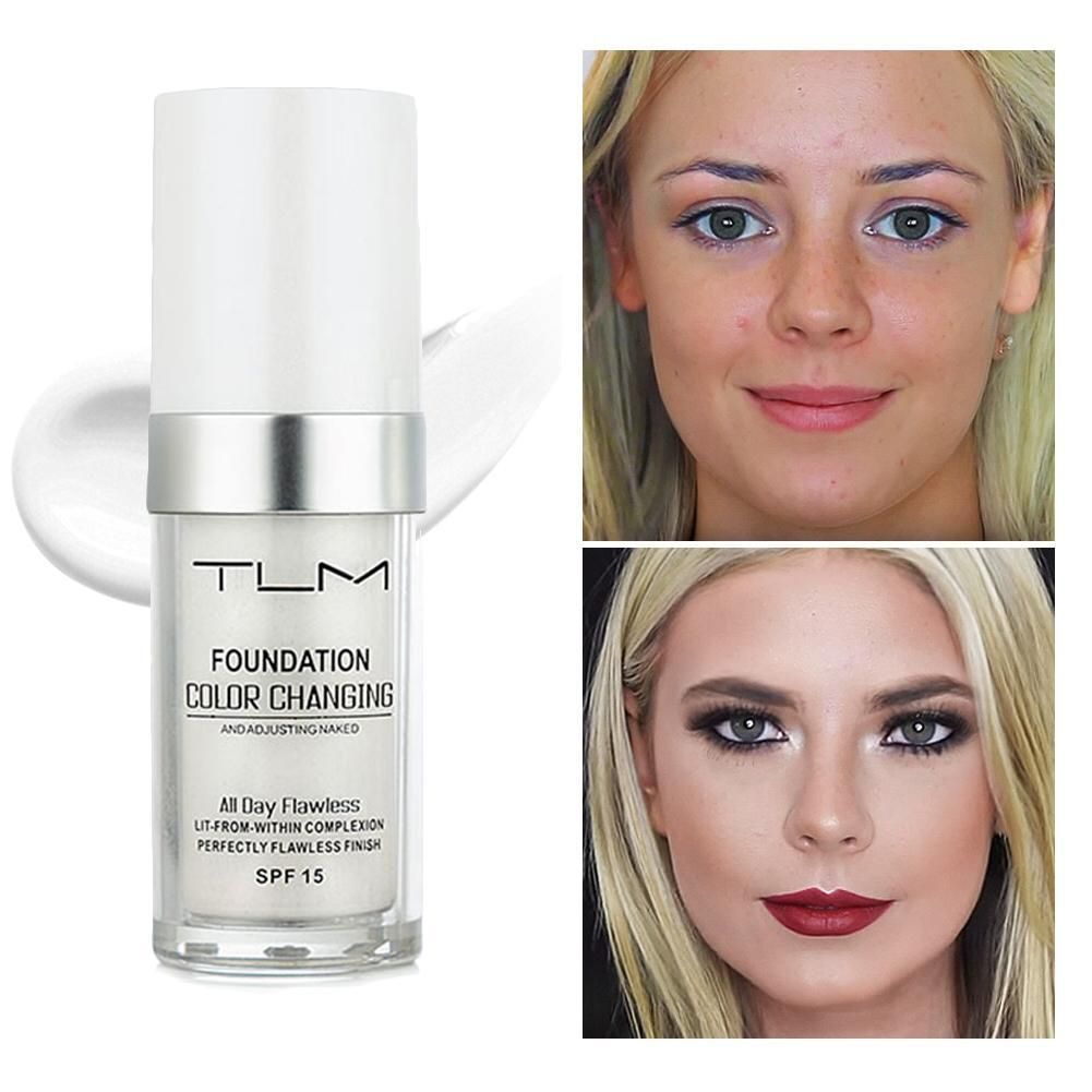TLM Color Changing Weightless Foundation 30ml Concealer Cover Cream Makeup Base Warm Skin Tone Women Girls Cream SPF15 image