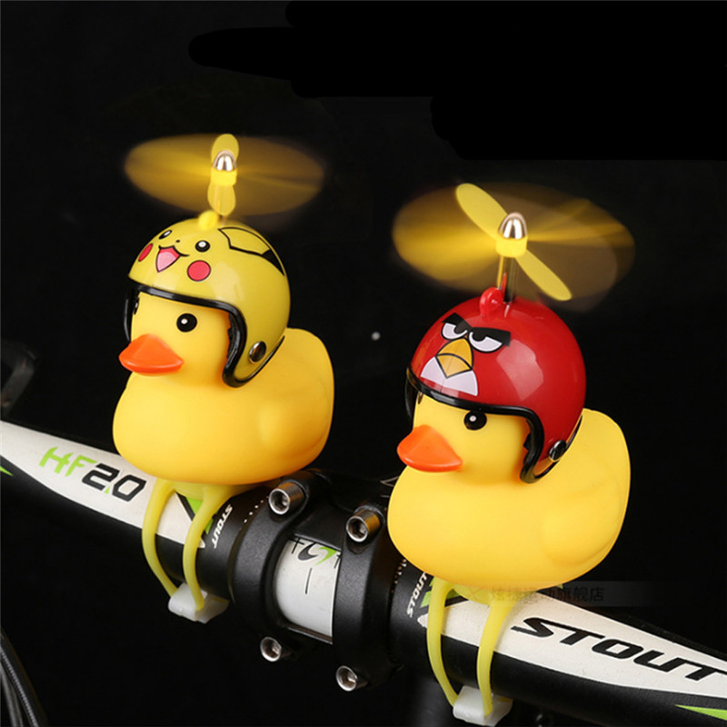 Bicycle Duck Bell with Light Broken Wind Small Yellow Duck MTB Road Bike Motor Helmet Riding Cycling Accessories Bicycle Bell