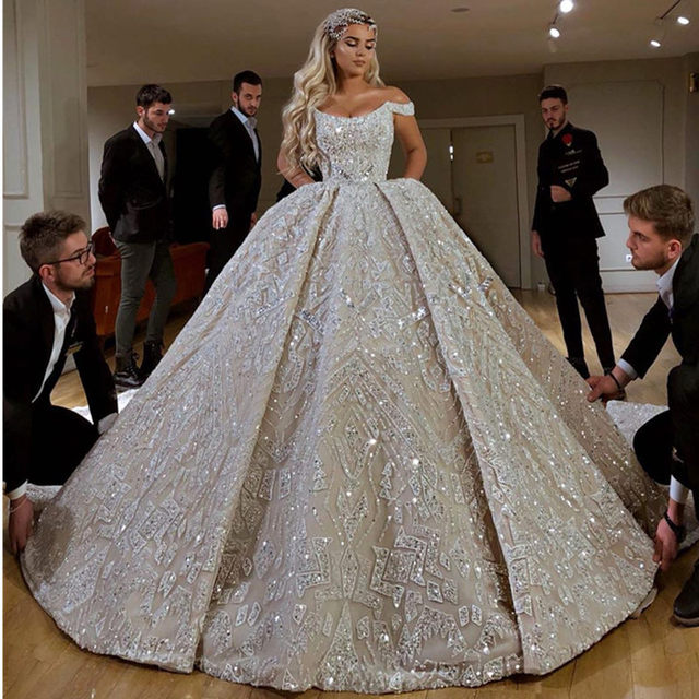 Robe De Mariee Luxury Full Beaded Ball Gown Wedding Dress in Dubai Scoop Neckline Off Shoulder Wedding Gowns with Court Train
