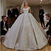 Robe De Mariee Luxus Voller Perlen Ballkleid Hochzeit Kleid in Dubai Scoop Ausschnitt Off Schulter Hochzeit Kleider mit Gericht zug