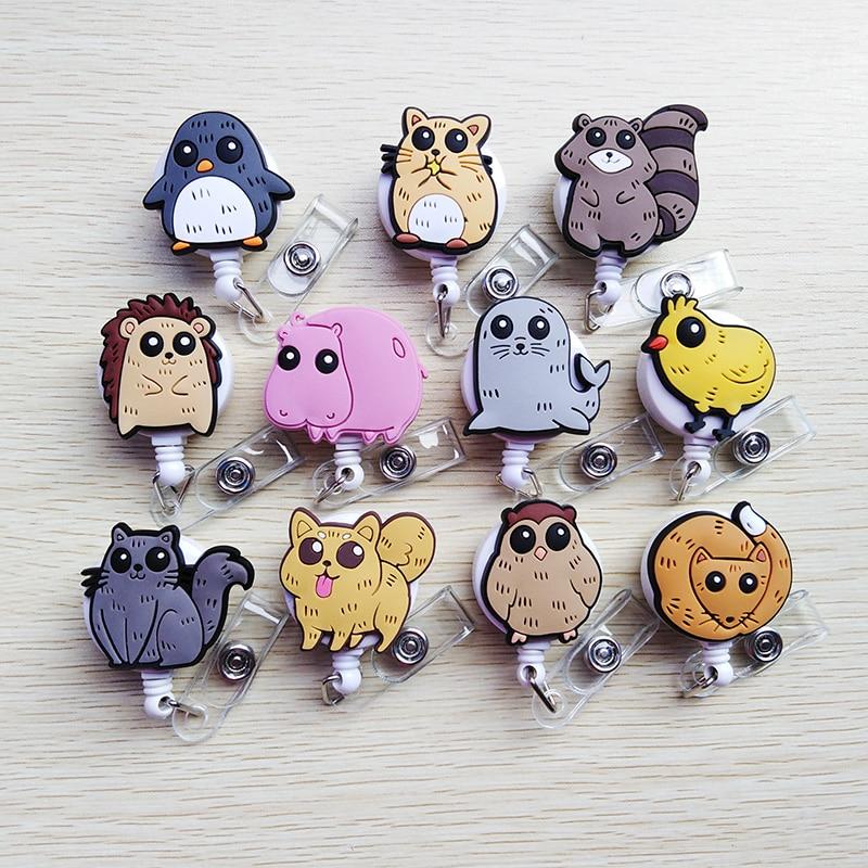 1 Pcs New Silica Gel Cartoon Animal Design Retractable Pull Badge Reel ID Name Tag Card Nurse Badge Holder Lovely Kids Reel