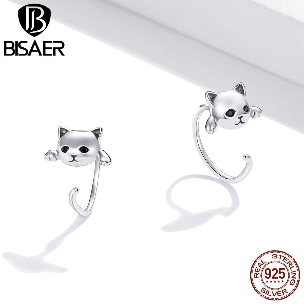 BISAER boucles d'oreilles 925 en argent Sterling mignon chat amour petit libre-Pick Design boucles d'oreilles pour les femmes en argent Sterling bijoux ECE965 4