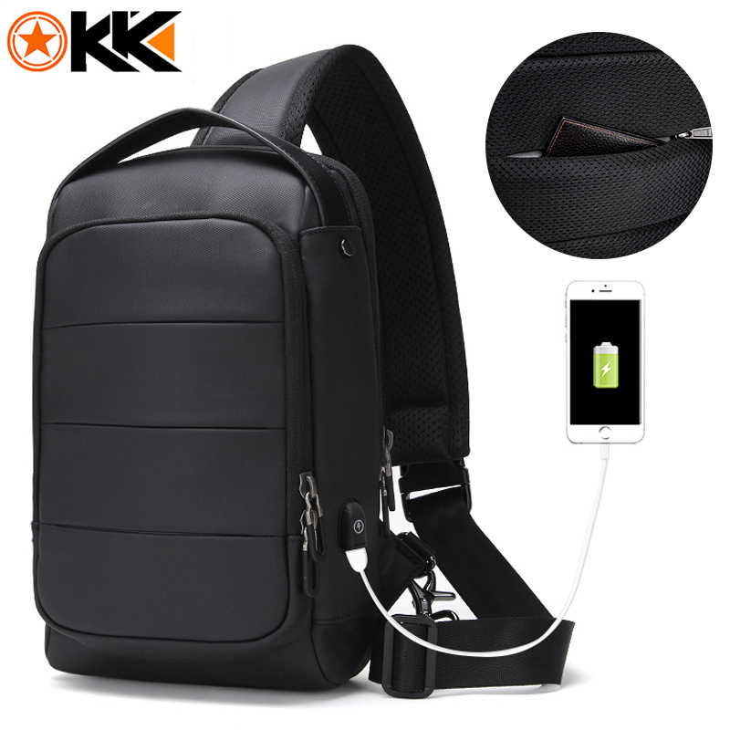 KAKA Waterproof Large capacity Fashion Men Sling Bag Fit for 9.7 inch Crossbody Short Trip Mobile Phone Bag