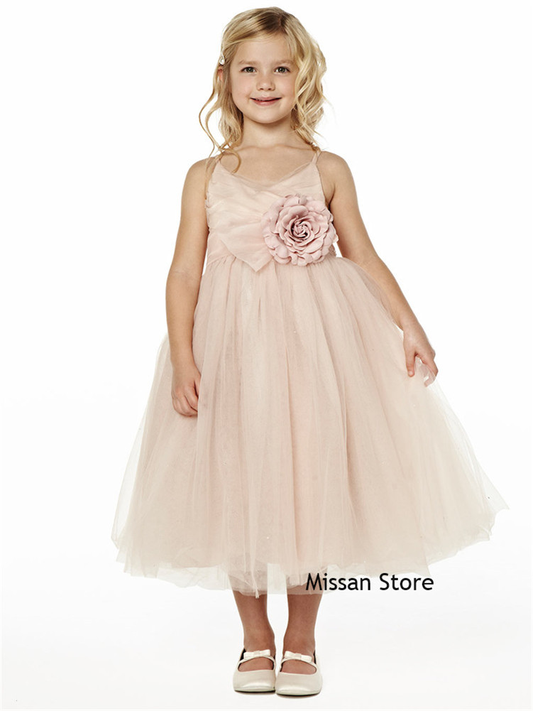 Blush Pink  Tulle Flower Girls Dress Little Girls Wedding Party Dress Special Occassion Dress