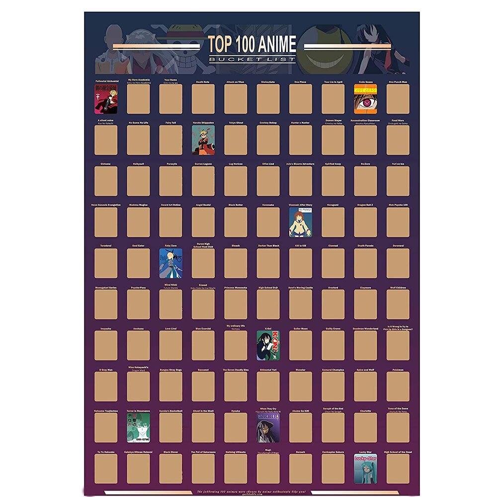 Топ украшения для дома 100 аниме постер с царапинами аниме ведро список премиум и художественные иконы отличный подарок для любителей аниме