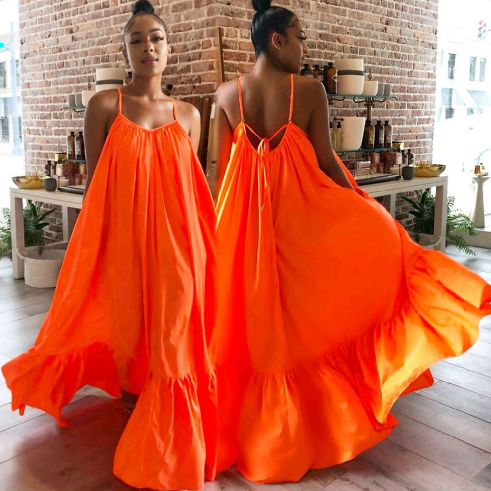 Women Summer Halter Neck Open Back Sleeveless Pleated Loose Maxi Dress Sexy Beach Party Club Long Dresses