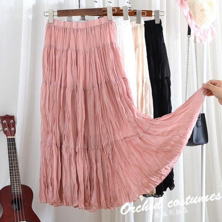 Harajuku WOMEN'S Dress Creased Long Skirt Chiffon Origional Skirt Children Summer 2019 New Style Swinging Skirt