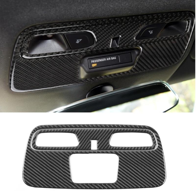 YCCPAUTO 2Pcs Carbon Fiber Reading Light Panel Trim Sticker For Chevrolet Camaro 2017 Interior Decoration