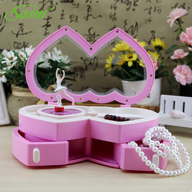 Saim Music Jewelry Box Ballerina Musical Jewelry Box Storage Heart Shape Dancing Girl Music Box Creative