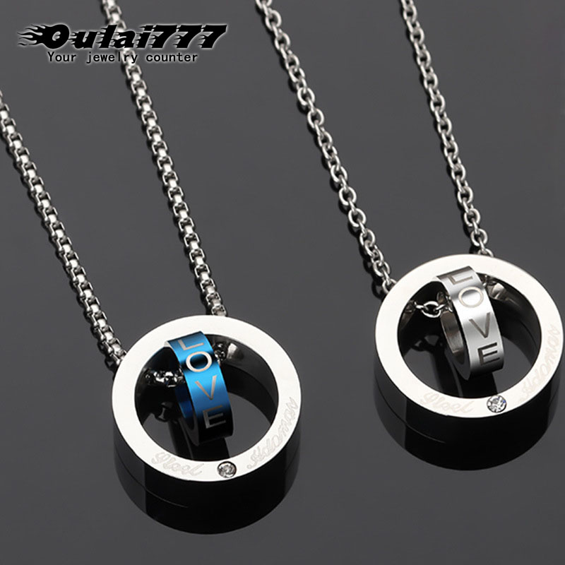oulai777 circle new necklaces pendants wholesale stainless steel silver gold male accessories personalized simper necklace chain