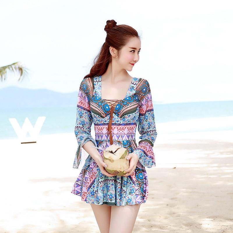 Bathing Suits for Women Modest One Piece Floral Bikini 2019 UnderWire Pad Girls Swimsuit Print Swimming Wear Fashion Swim Suit