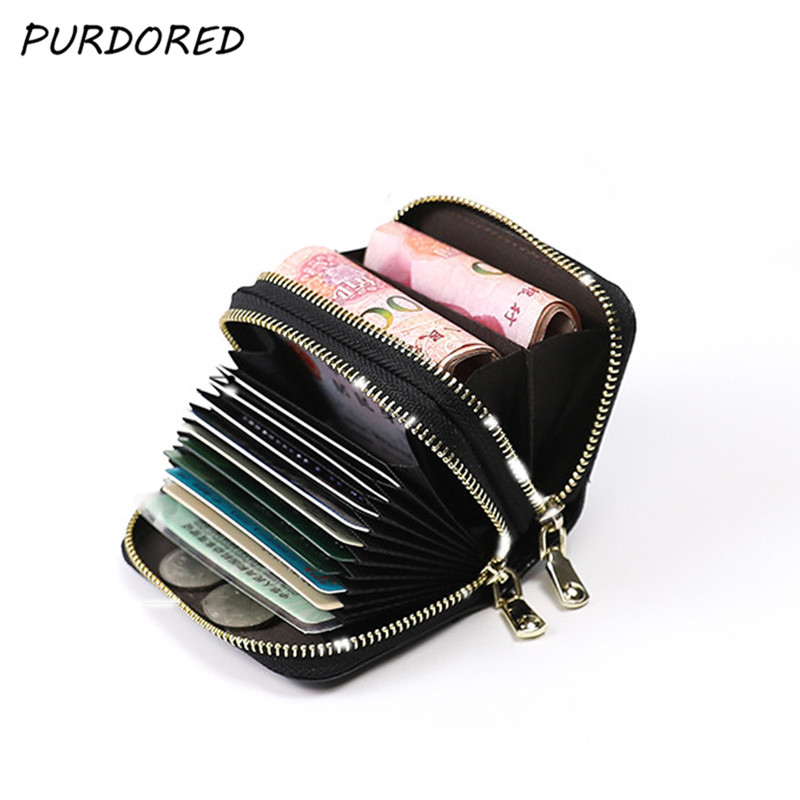 PURDORED 1 Pc Unisex 2 Layers Card Holder Leather Women Credit  Cards Case Female Business Card Holder Wallet Tarjetero Hombre