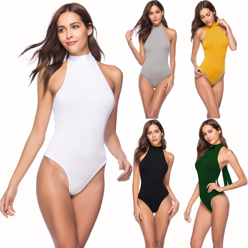 Sexy Sleeveless Backless Bodysuit Summer Halter Elegant Body Women Yellow White Black Office Ladies Jumpsuits Femme Jumpsuits