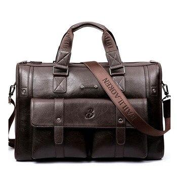 Men's Handbags Business OL Made of High Quality Leather for Travel Shoulder Bags Male Bolsa Computer Laptop Bags Vintage Handbag