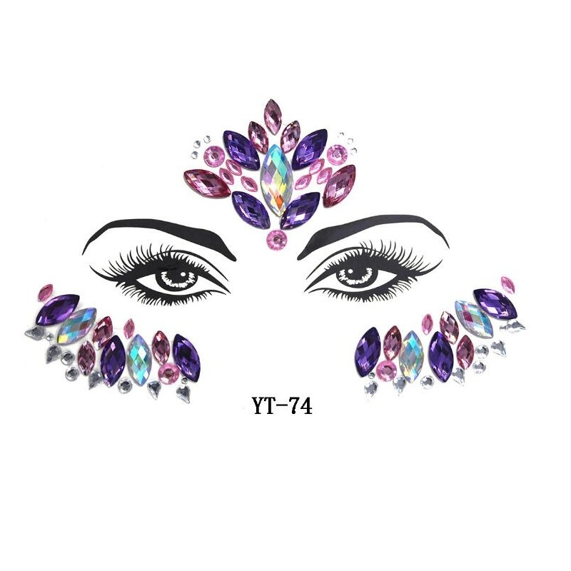 5pcs Set Festival Face Gems Rhinestones Adhesive Crystal Beauty Body Art Glitter Tattoo Eyebrow Face Jewelry Stickers Temporary Tattoos Aliexpress