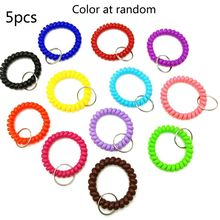 5Pcs Mixed Wrist Coil Keychains Stretch Wristband Key Ring For Gym Pool ID Badge