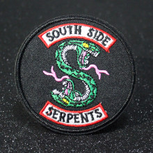 DIY Riverdale South Side Serpents Embroidery Iron On Patches For Clothing Green Double-headed Snake Patches Punk Patch Stickers(China)