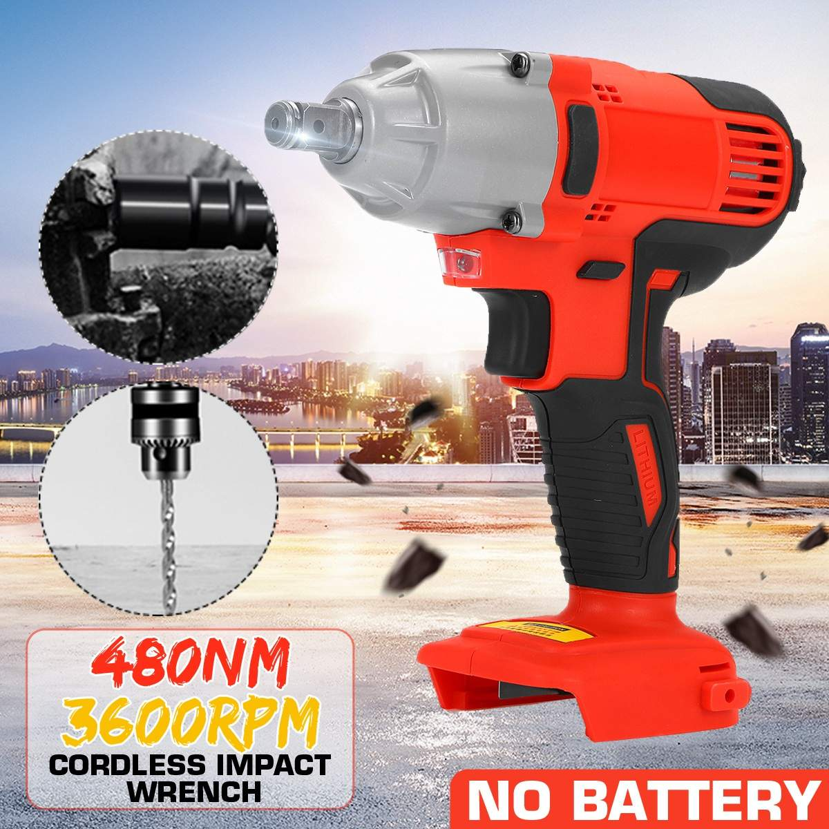 3600rpm Impact Wrench Cordless Electric Wrench Power Tool <font><b>480Nm</b></font> Torque Rechargeable With <font><b>LED</b></font> Lights For Home Car Repaire image