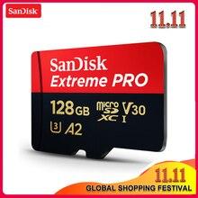Original sandisk extreme pro micro cartão sd até 170 mb/s a2 v30 u3 64 gb 128 gb 256 gb sandisk tf cartão de memória com adaptador sd