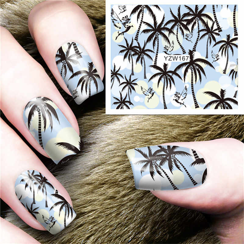 1pc Colorful 3D Nail Art Stickers Sliders Flowers Leaf Cartoon Geometry Adhesive Nail Decals Foil Design Manicure Beauty Decor