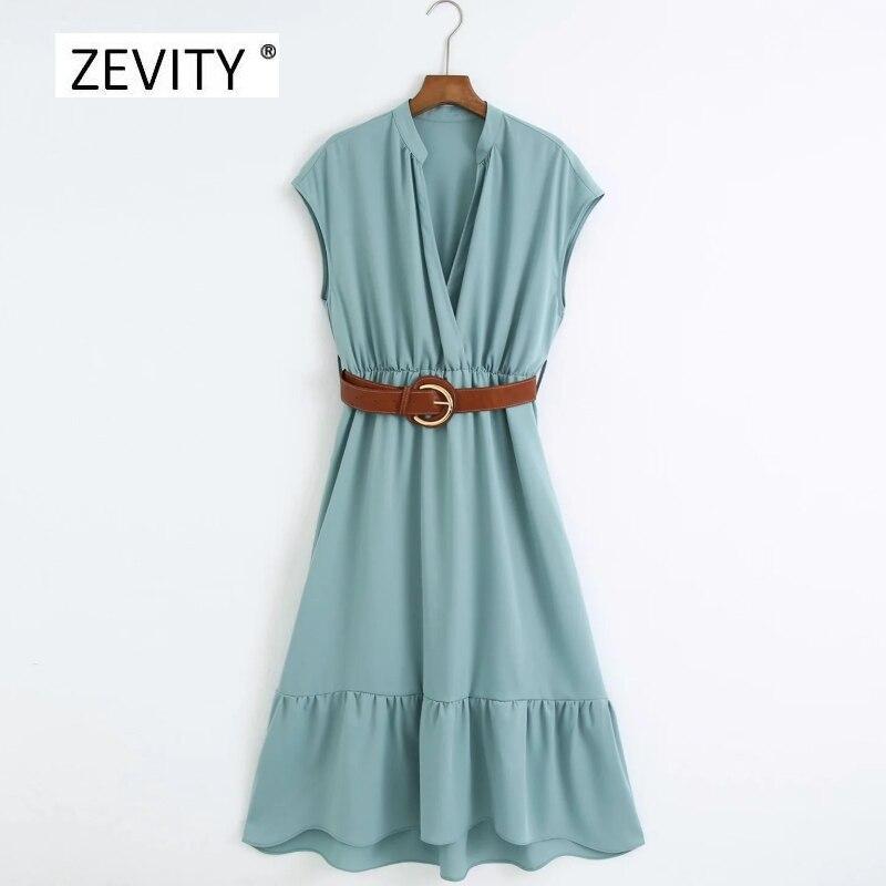 New 2020 Women elegant v neck solid color casual slim business dress office ladies buckle sahses hem pleats midi Dresses DS4108