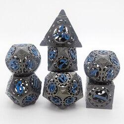 Dados de metal huecos de latón hechos a mano, juego de mesa dnd, Pathfinder, MTG, juegos de dados de metal