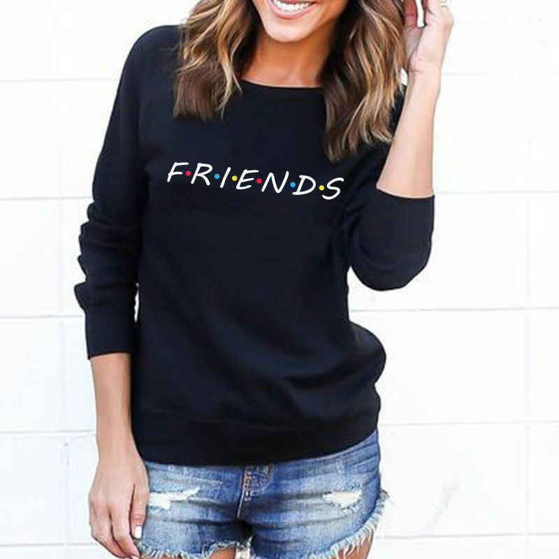 FRIENDS Letter Summer Autumn Long Sleeve Women T shirt Casual Funny T shirt For Lady Girl Fashion Loose Solid Top Tee Hipster