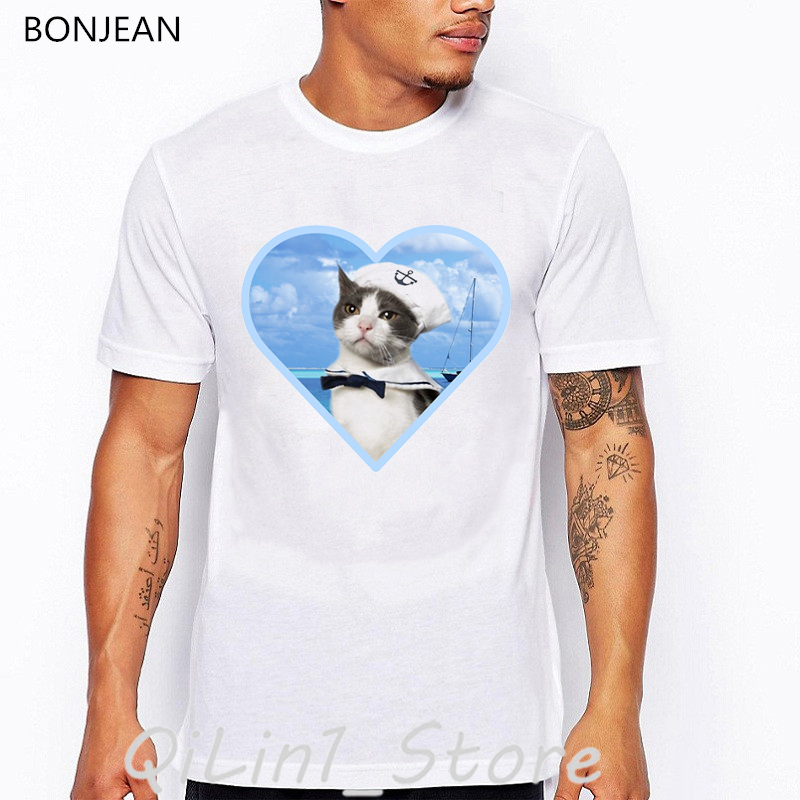 Blue navy cat animal print t-shirt men funny t shirts camisetas hombre harajuku shirt oversized white tshirt homme streetwear