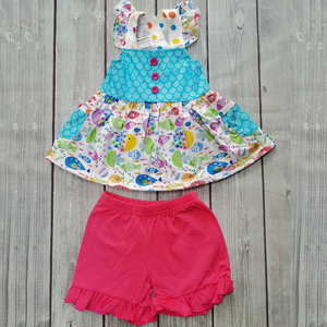 Robe d'été cadeau pour bébé fille | Motif échelle de poisson, tenue fantaisie du monde sous-marine + short rouge en dentelle, cadeau pour bébé