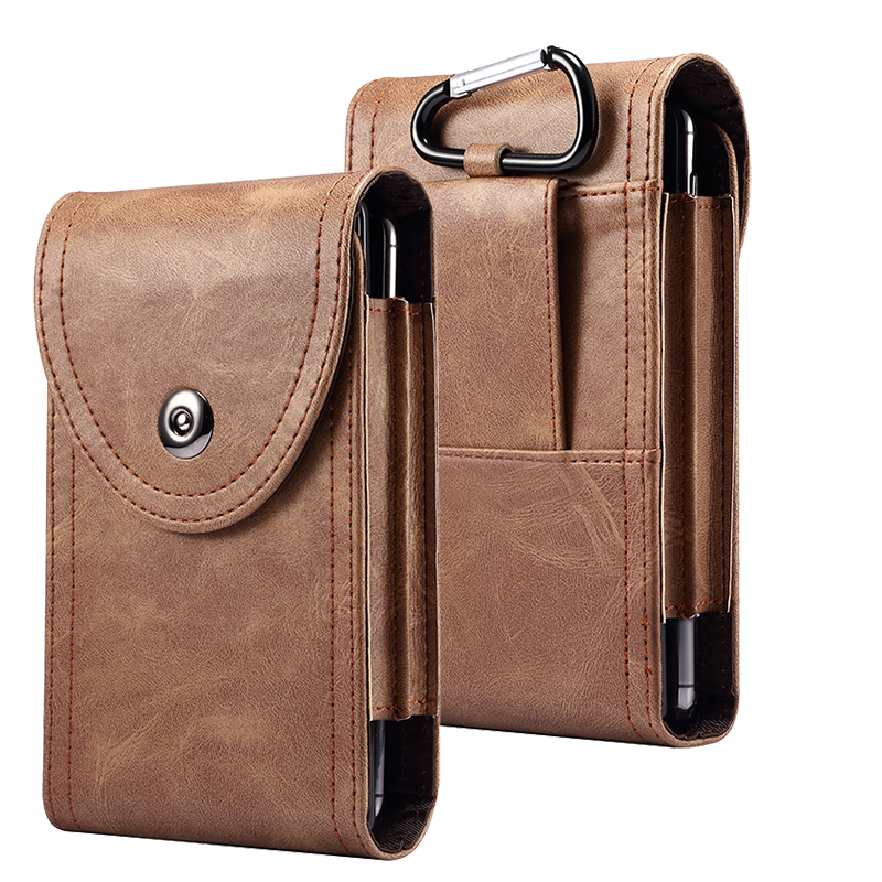 Double Layer PU Leather Waist Bag For <font><b>iPhone</b></font> 11 Pro Max 6 6s 7 8 X <font><b>XR</b></font> Hip <font><b>Belt</b></font> Pouch Holster Wallet For Samsung S20 Note 10 Plus image