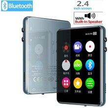 Leitor de mp3 bluetooth 5.0 tela de toque de metal 2.4 polegadas built in alto falante 16 gb com e book, rádio fm, gravação de voz, leitor de vídeo