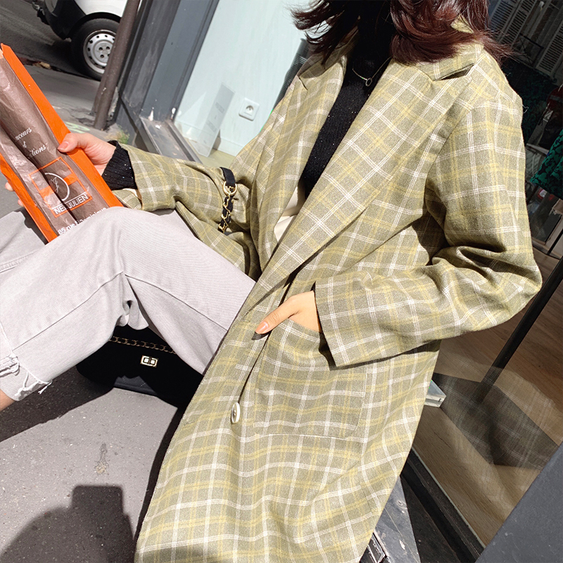 MISHOW 2019 Autumn Winter Vintage Plaid Coat Women Fashion Lapel Double-breasted Green Coat MX19C7350